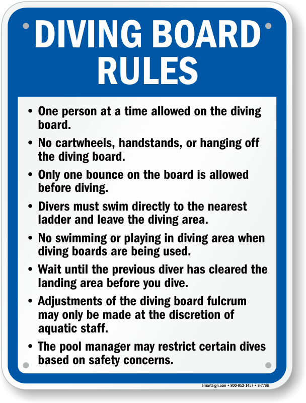 Diving Board Rules Signs Diving Rules Signs