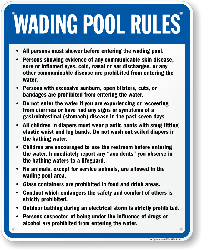 Wading Pool Rules Sign For North Jersey Sku S 7763