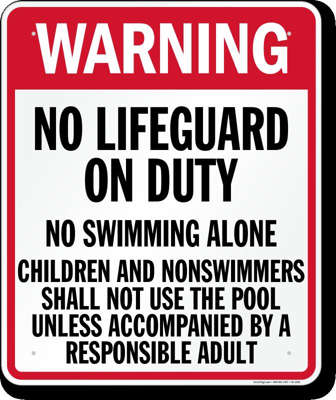 Pennsylvania No Lifeguard On Duty Sign Sku S2 1550