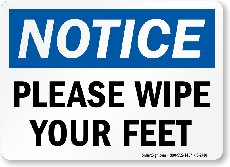 Wash Your Feet Signs For Pool Foot Wash Station Signs