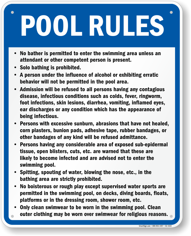 Missouri Swimming Pool Rules Signs