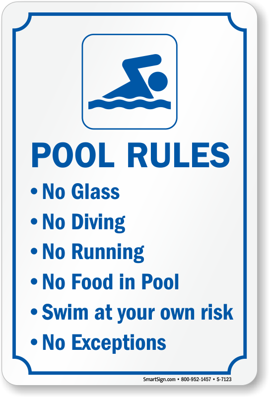 Pool rules no glass no diving no running no food in pool - Florida condo swimming pool rules ...