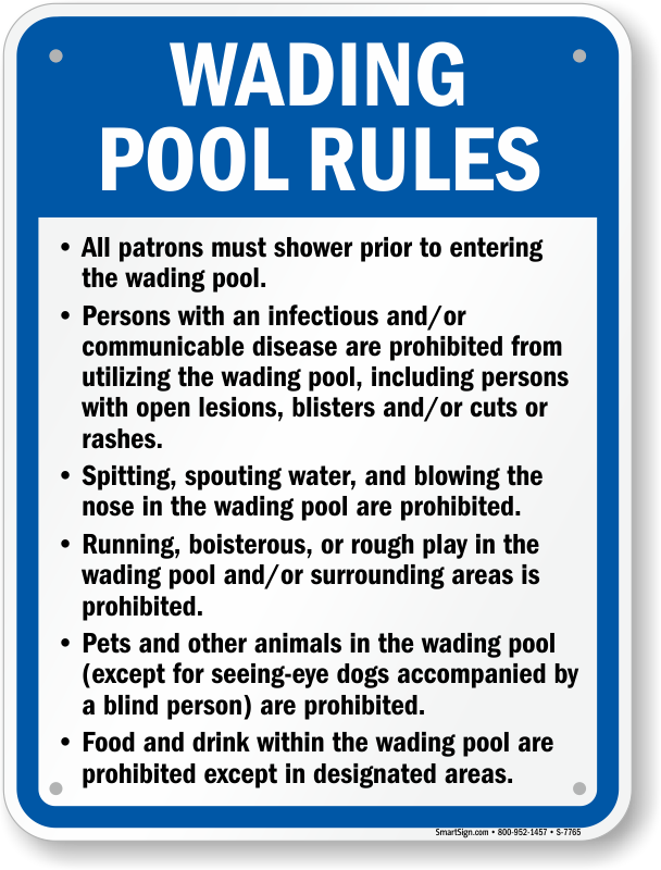 Wading pool rules for rhode island sign sku s 7765 - Swimming pool rules and regulations signs ...