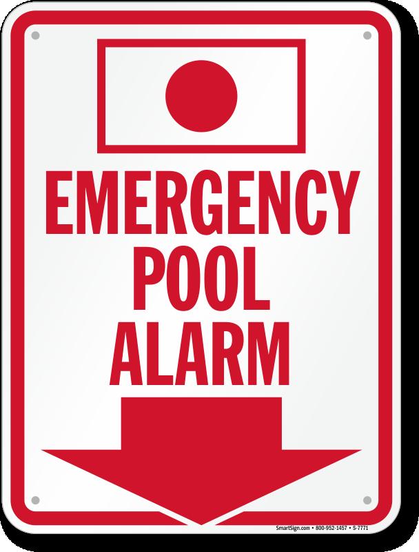 Spa Emergency Pool Alarm Sign Sku S 7771