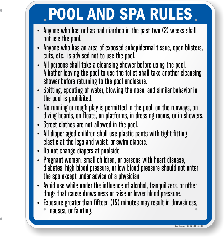 Indiana Swimming Pool Signs