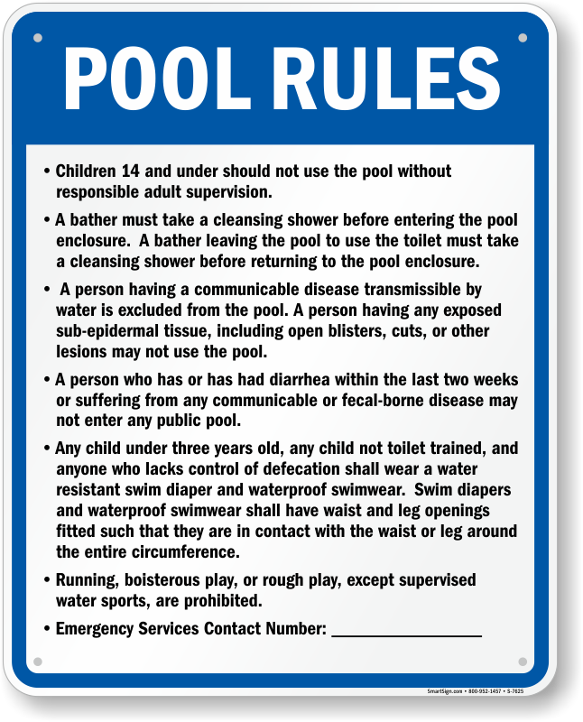 Utah Pool Rules Sign Sku S 7625