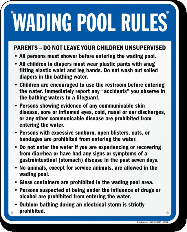 Swimming Pool Wading Sign Sku S 7762