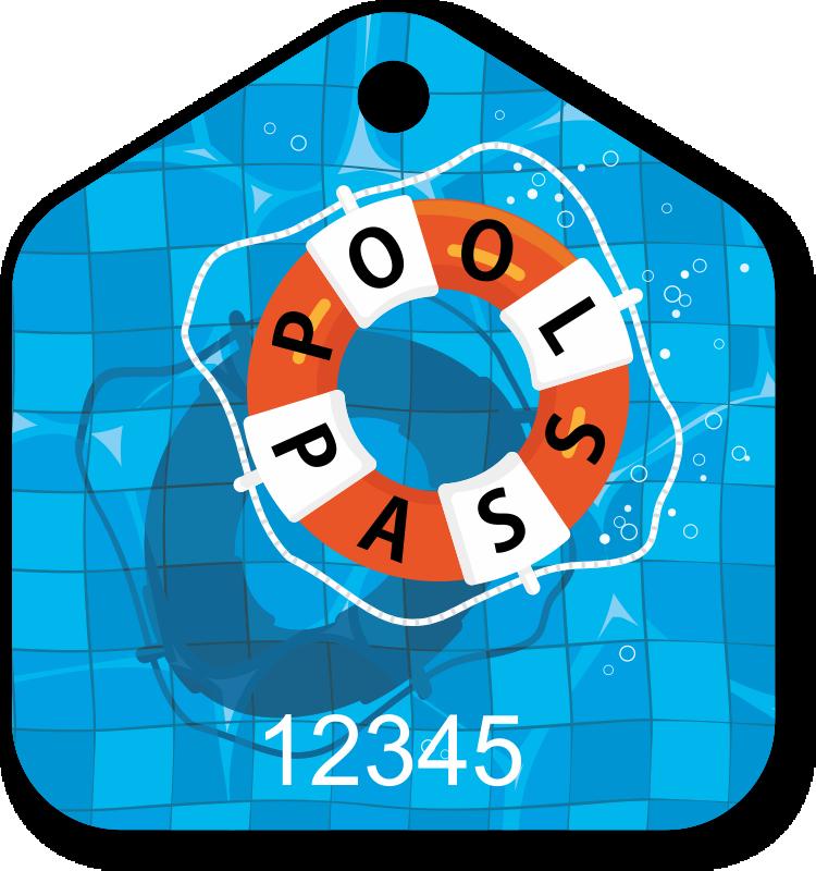 Pool Pass In Pentagon Shape Lifesaver Design Sign Sku