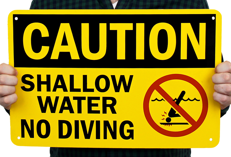 Caution Shallow Water No Diving Sign Sku S 7073