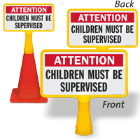 Attention Children Must Be Supervised ConeBoss Pool Sign