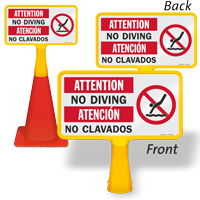 Attention No diving Bilingual ConeBoss Pool Sign