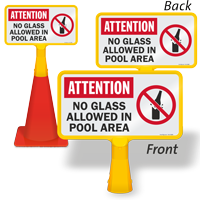 Attention No Glass allowed In Pool ConeBoss Pool Sign
