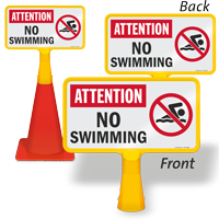 Attention No Swimming ConeBoss Pool Sign