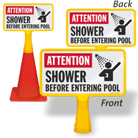 Attention Shower Before Entering Pool ConeBoss Pool Sign