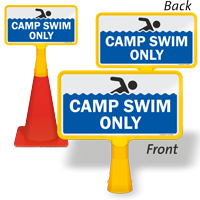 Camp Swim Only ConeBoss Pool Sign