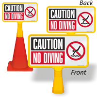 Caution No Diving ConeBoss Pool Sign