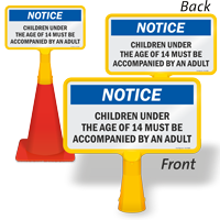 Children Under 14 to Accompanied ConeBoss Pool Sign