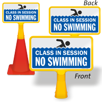 Class In Session No Swimming ConeBoss Pool Sign