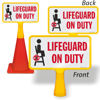 Lifeguard On Duty ConeBoss Pool Sign