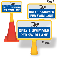 Only 1 Swimmer Per Lane ConeBoss Sign