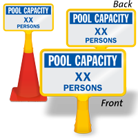 Pool Capacity Persons Custom ConeBoss Swimming Pool Sign
