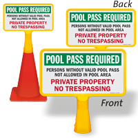 Pool Pass Required No Trespassing ConeBoss Pool Sign