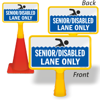 Senior Disabled Lane only ConeBoss Pool Sign