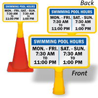 Swimming Pool Hours Custom ConeBoss Swimming Pool Sign