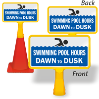 Swimming Pool Hours Dawn To Dusk ConeBoss Pool Sign