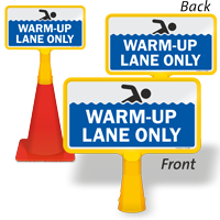 Warm Up Lane Only ConeBoss Pool Sign