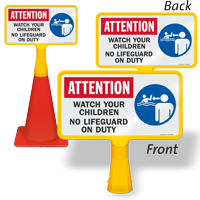 Watch your Children No Lifeguard ConeBoss Pool Sign