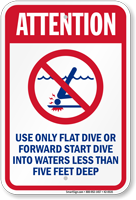Attention Only Flat Or Forward Dive Sign