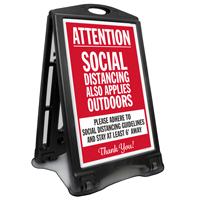 Attention Social Distancing Applies Outdoors BigBoss A-Frame Portable Sidewalk Sign