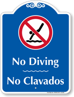 Bilingual No Diving Signature Sign