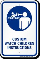 Customizable Watch Children Instructions Sign