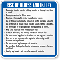 Georgia Risk Of Injury Waterslide Rules Sign