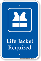 Life Jacket Required, Safety Vests Symbol Sign