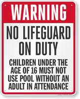 Nebraska No Lifeguard On Duty Sign