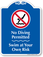 No Diving Permitted Signature Sign