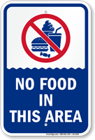 No Food In This Area Pool Safety Sign
