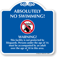 No Swimming Signature Warning Sign