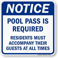 Notice Pool Pass Is Required Sign