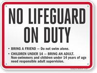 Oregon No Lifeguard On Duty Sign