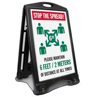 Please Maintain 6 Feet of Social Distance Sidewalk Sign