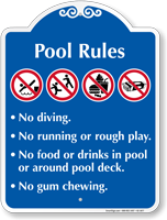 Pool Rules No Diving No Running Signature Sign