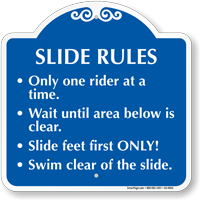 Slide Rules, One Rider At A Time Sign