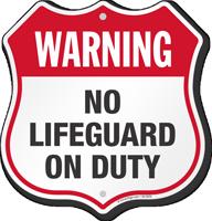 Warning No Lifeguard On Duty Pool Safety Shield Sign