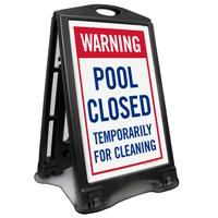 Warning Pool Closed Temporarily Sidewalk Sign