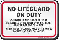 Washington No Lifeguard On Duty Sign