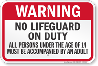 West Virginia No Lifeguard On Duty Sign